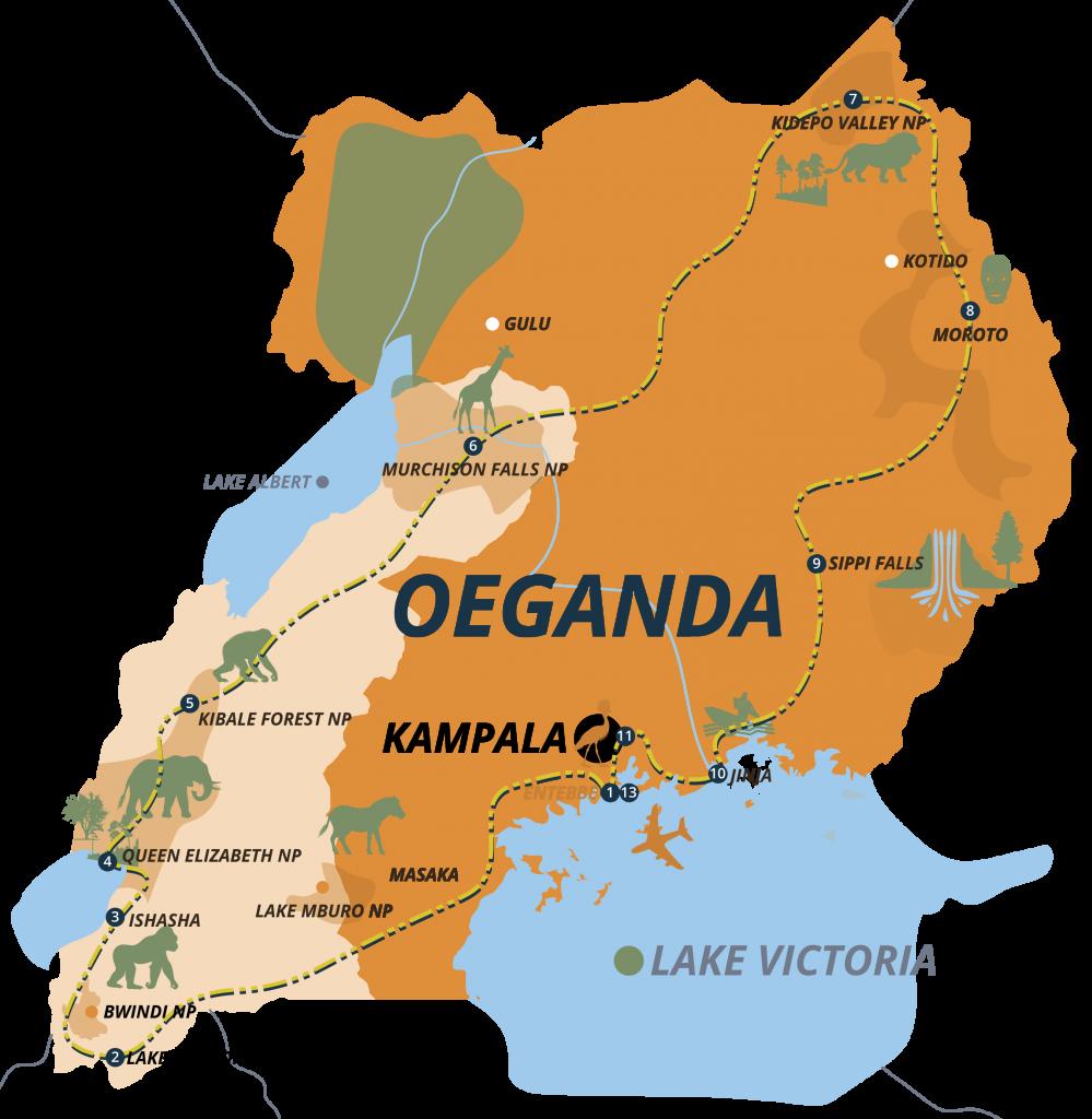 Kaart Oeganda 21 dagen
